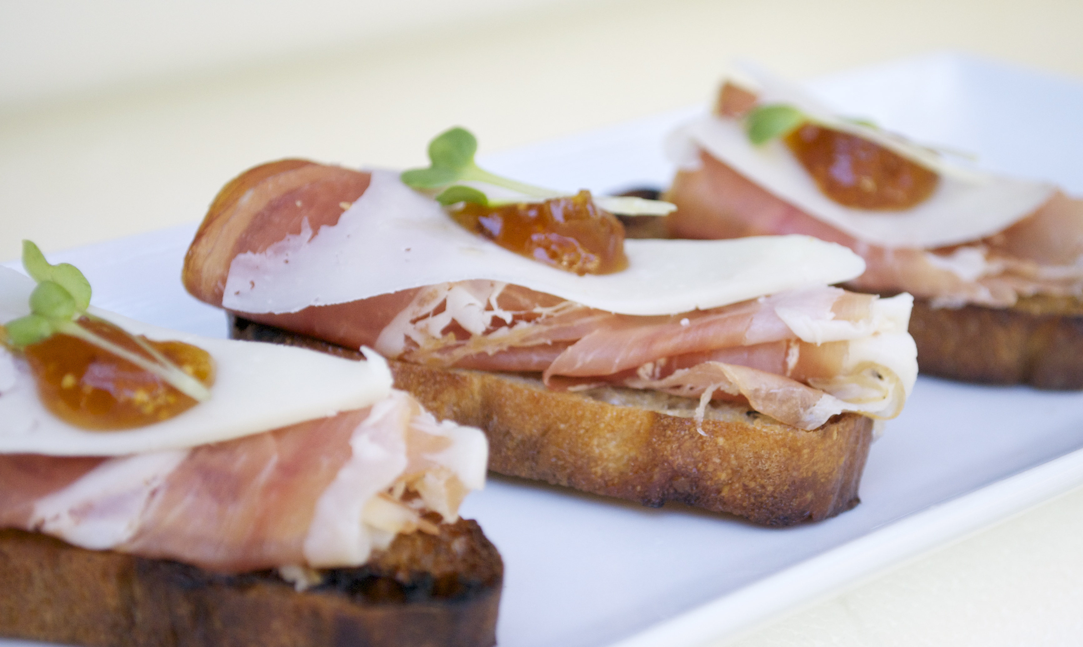 Grilled Crostini with Serrano Ham, Manchego Cheese, Fig Jam & Daikon ...