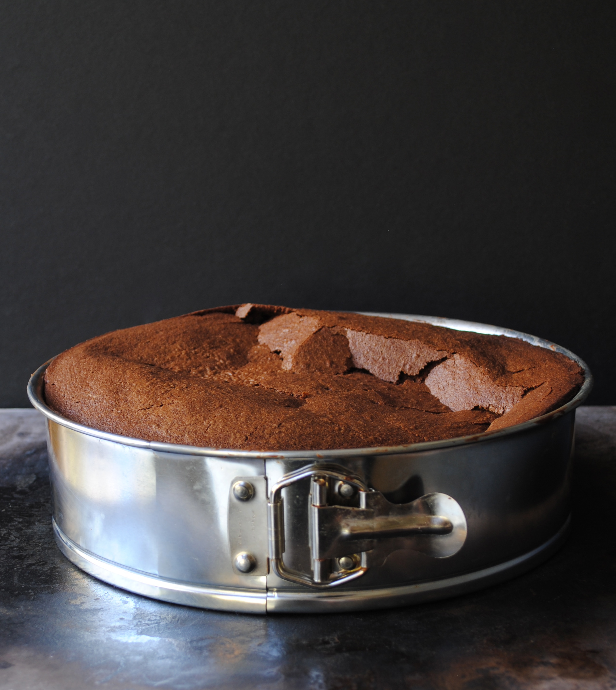 "Flourless Chocolate Cake, right out of the oven in your 9"" Springform pan."