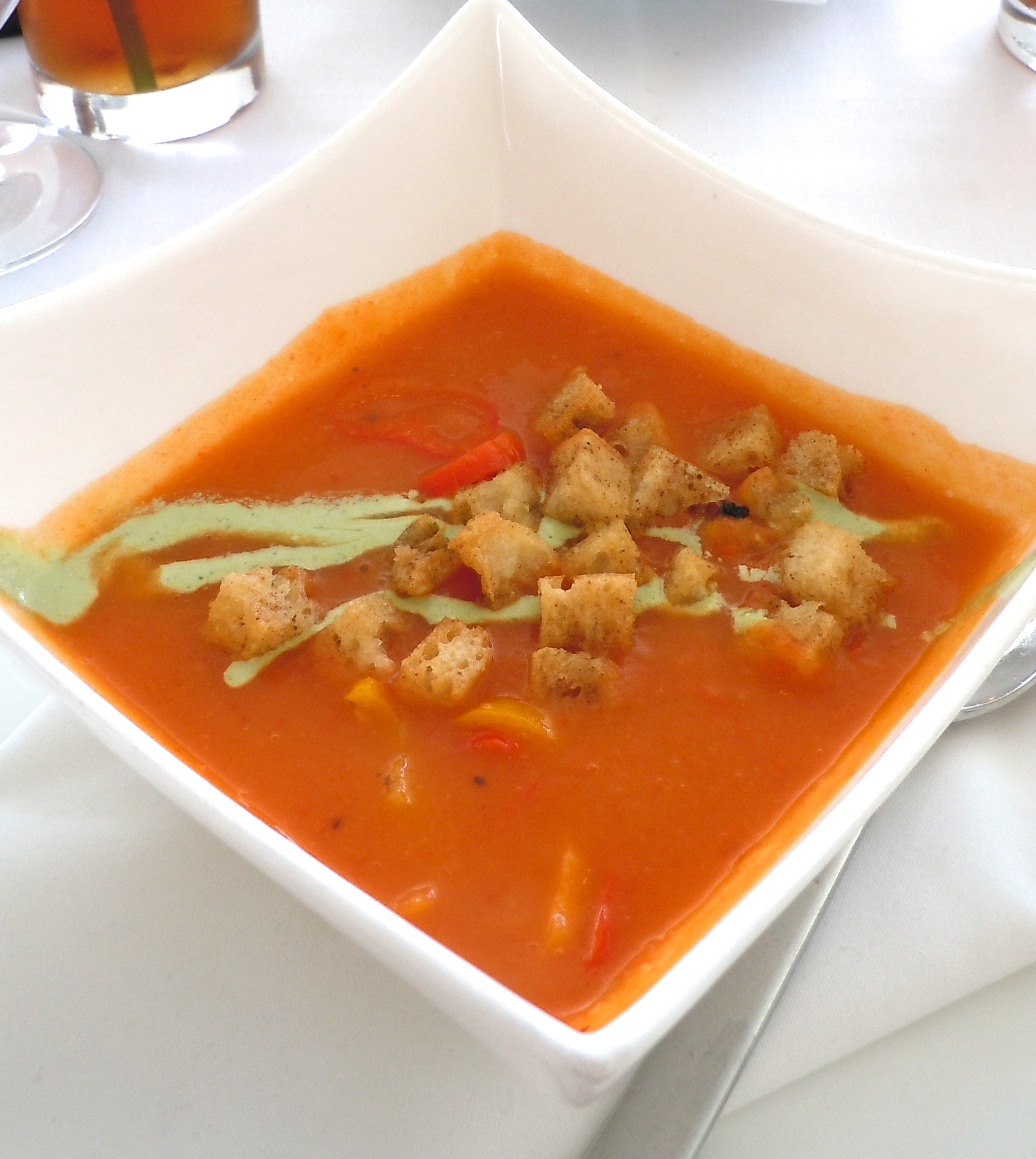 Roasted Red Pepper Soup with Toasted Croutons
