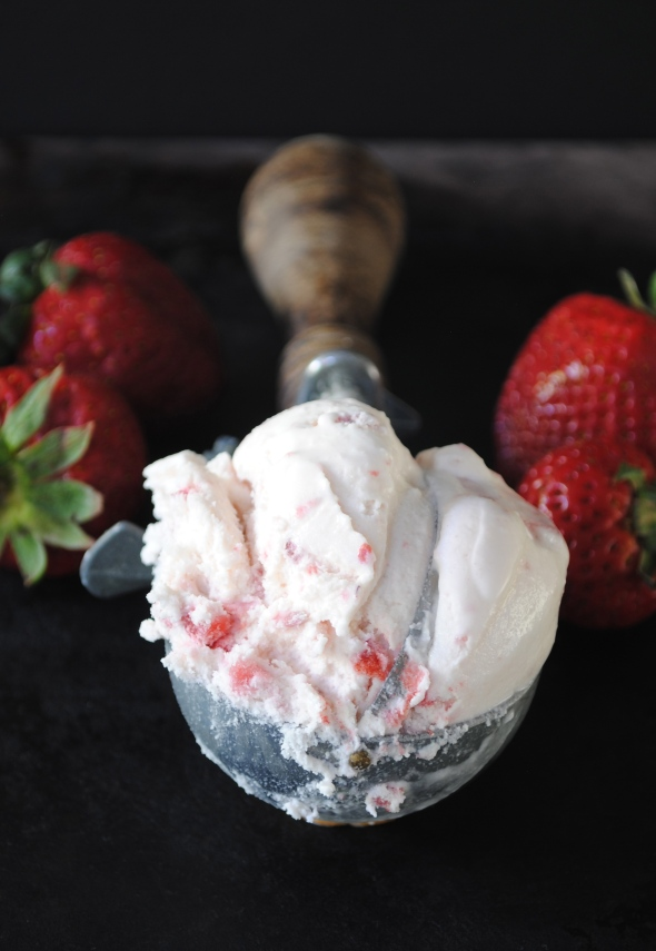 Strawberry Ice Cream made with fresh California Strawberries