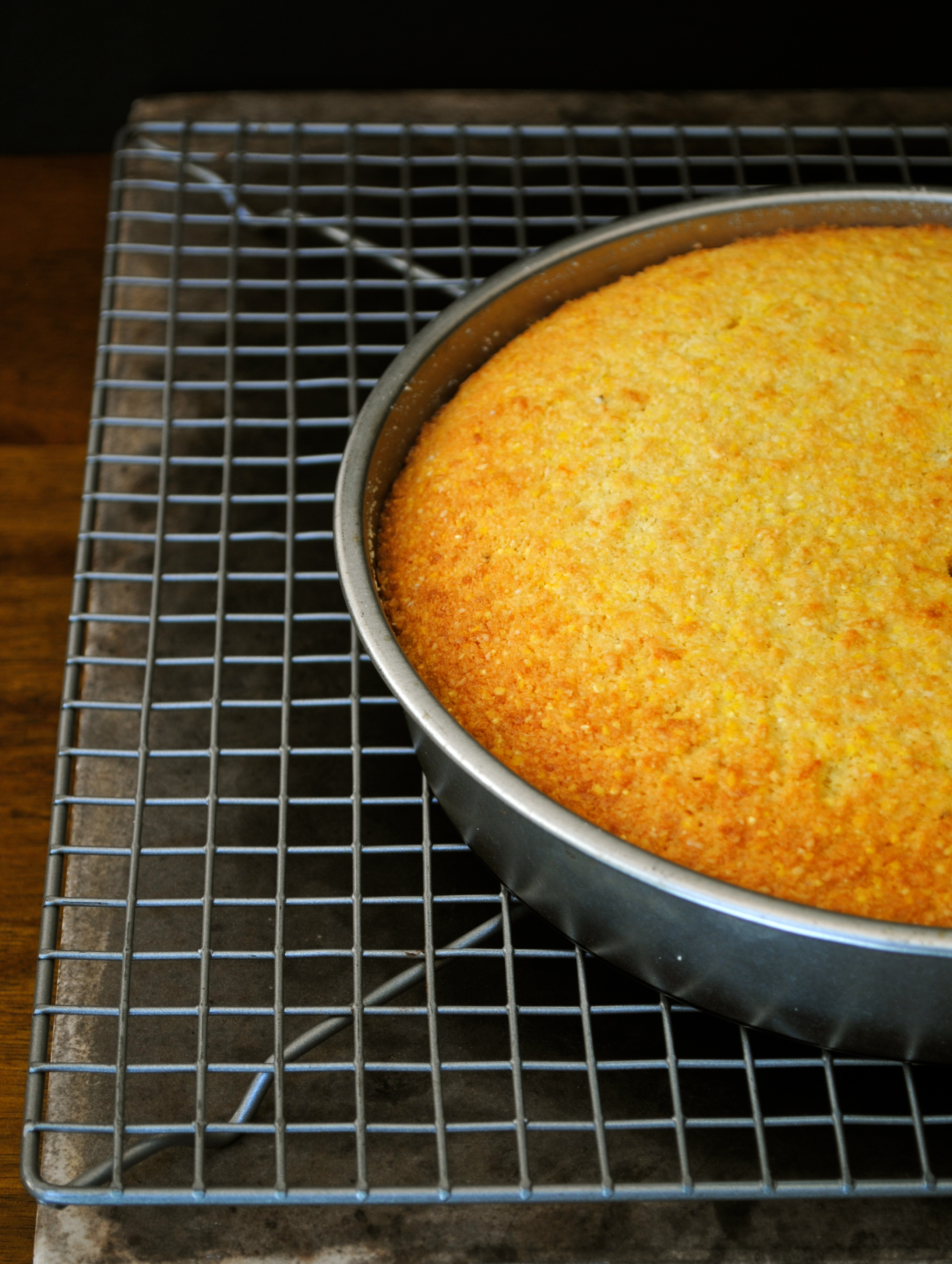 Polenta Cake hot out of the oven
