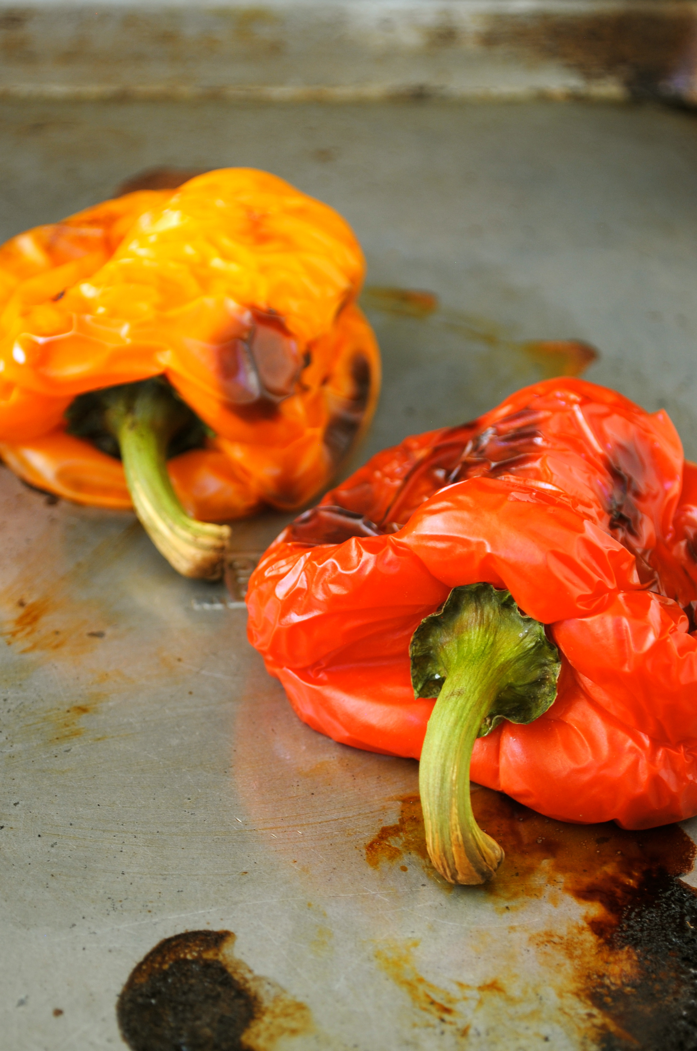 The roasted peppers will end up looking something like these.