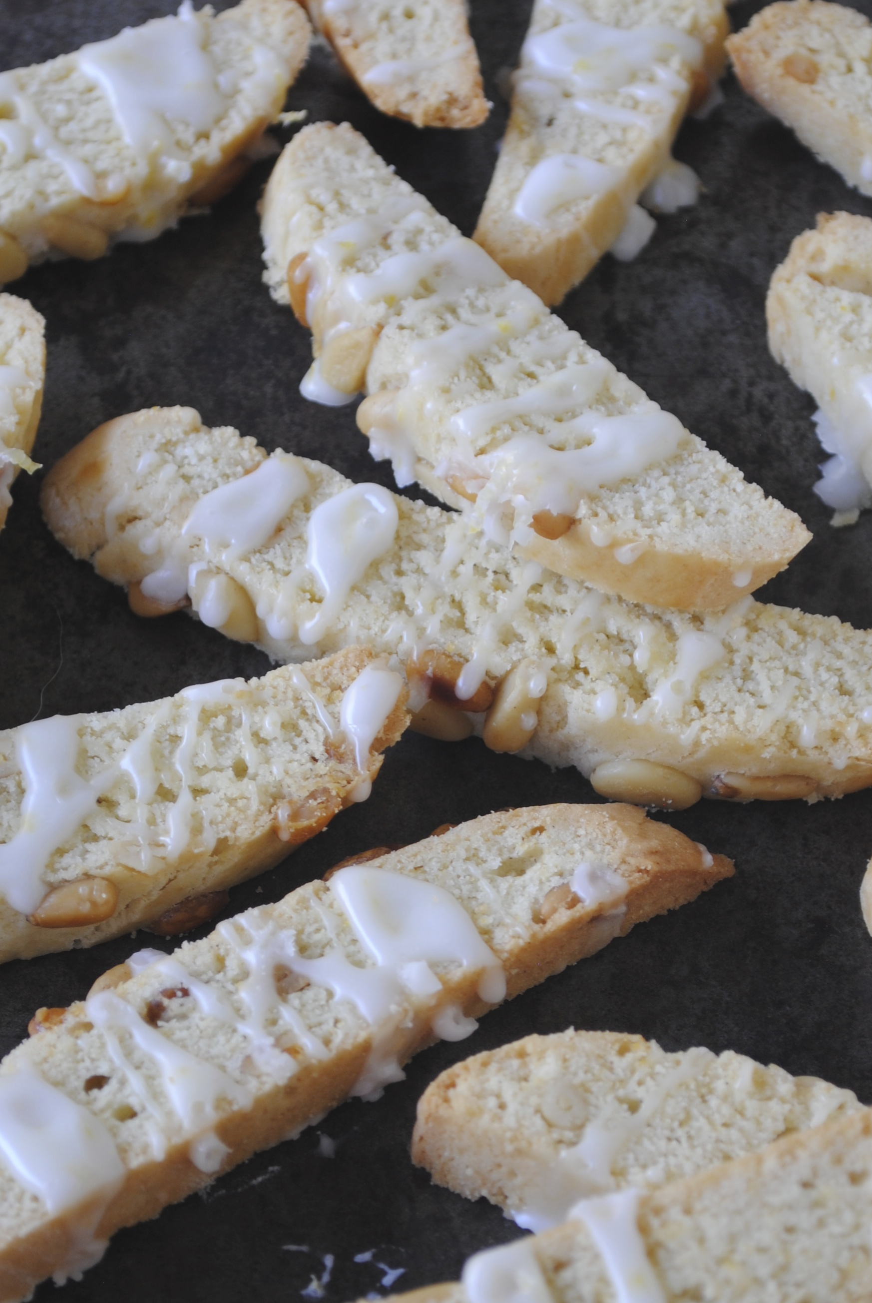 Lemon Pine Nut Biscotti with Fresh Lemon Glaze