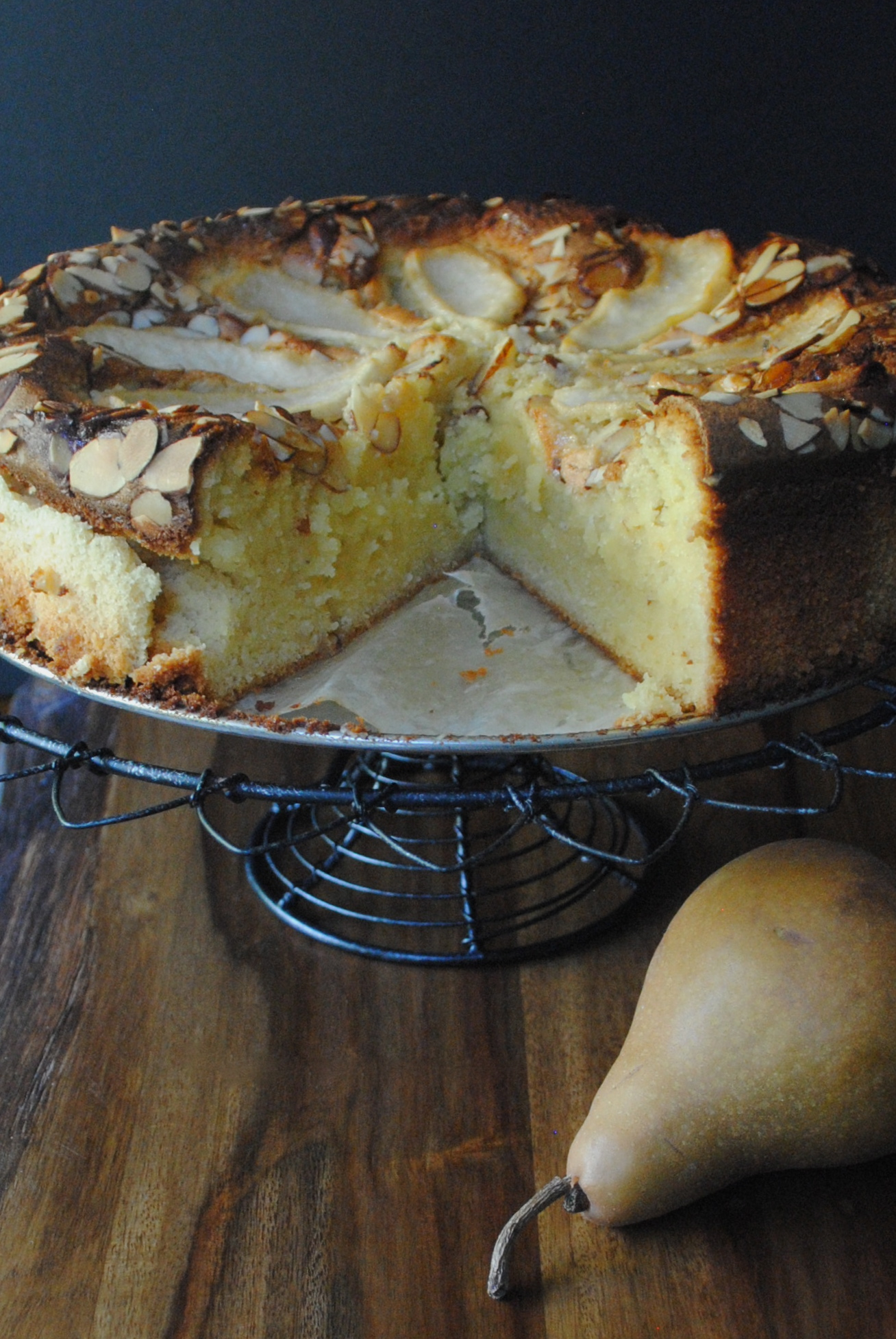 almond cake almond pear cake buttery almond pear cake caramelised pear ...
