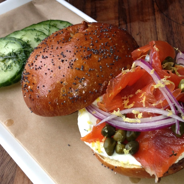"Bagel with house-made trout ""lox"" and Dill Cream Cheese at MB Post"