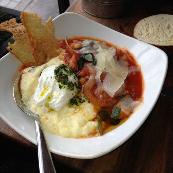 Poached Egg with Tomato & White Bean Ragout, Creamy Polenta