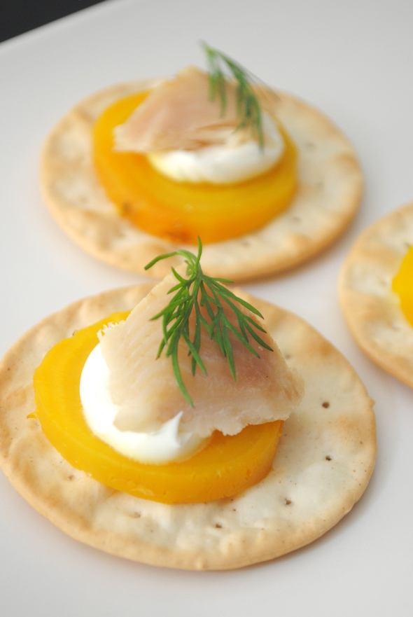 Golden Beets with Smoked Trout &Dill